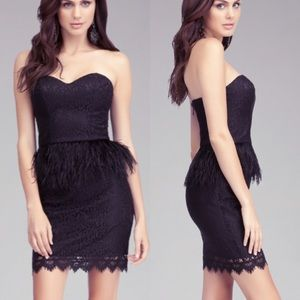 bebe Strapless Feather Waist Peplum Dress Black!